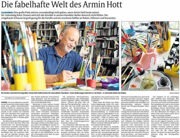 Rheinpfalz 12.11.2020 Die fabelhafte Welt des Armin Hott